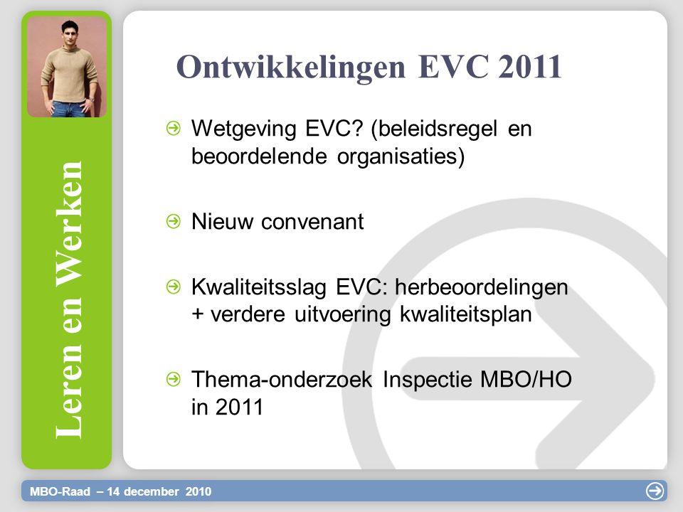 Ontwikkelingen EVC 2011 MBO-Raad – 14 december 2010 Leren en Werken Wetgeving EVC? (beleidsregel en beoordelende organisaties) Nieuw convenant Kwalite