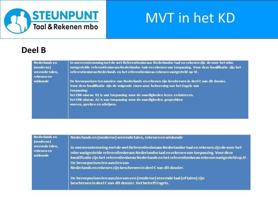 MVT in het KD Deel B Nederlands en (moderne) vreemde talen, rekenen en wiskunde In overeenstemming met de wet Referentieniveaus Nederlandse taal en rekenen zijn de voor het mbo vastgestelde referentieniveaus Nederlandse taal en rekenen van toepassing.