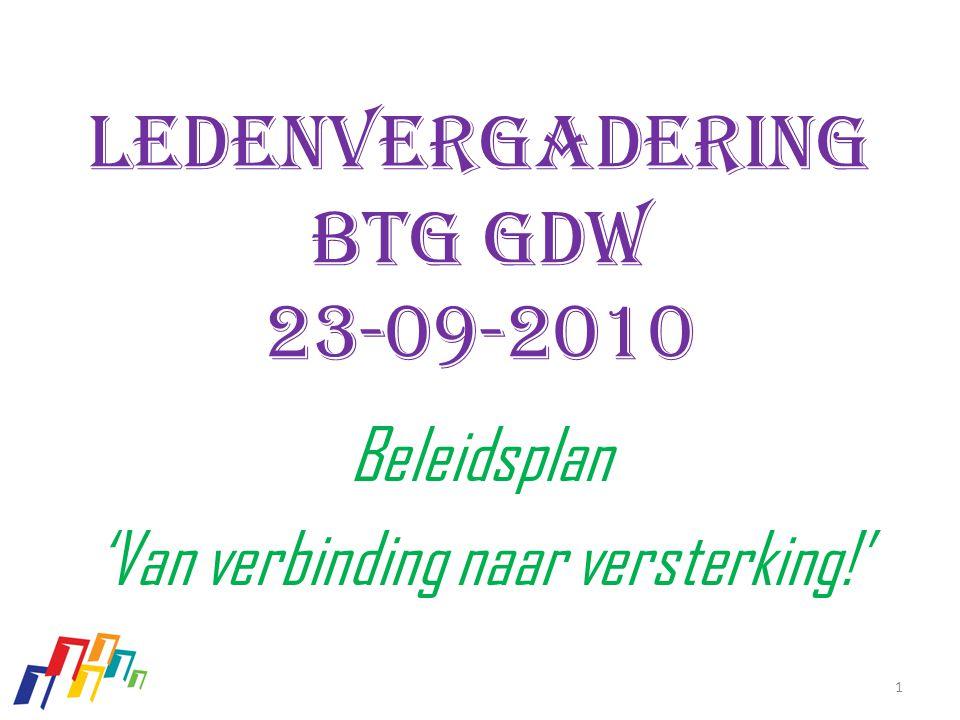 ledenvergadering Btg GDW 23-09-2010 Beleidsplan 'Van verbinding naar versterking!' 1