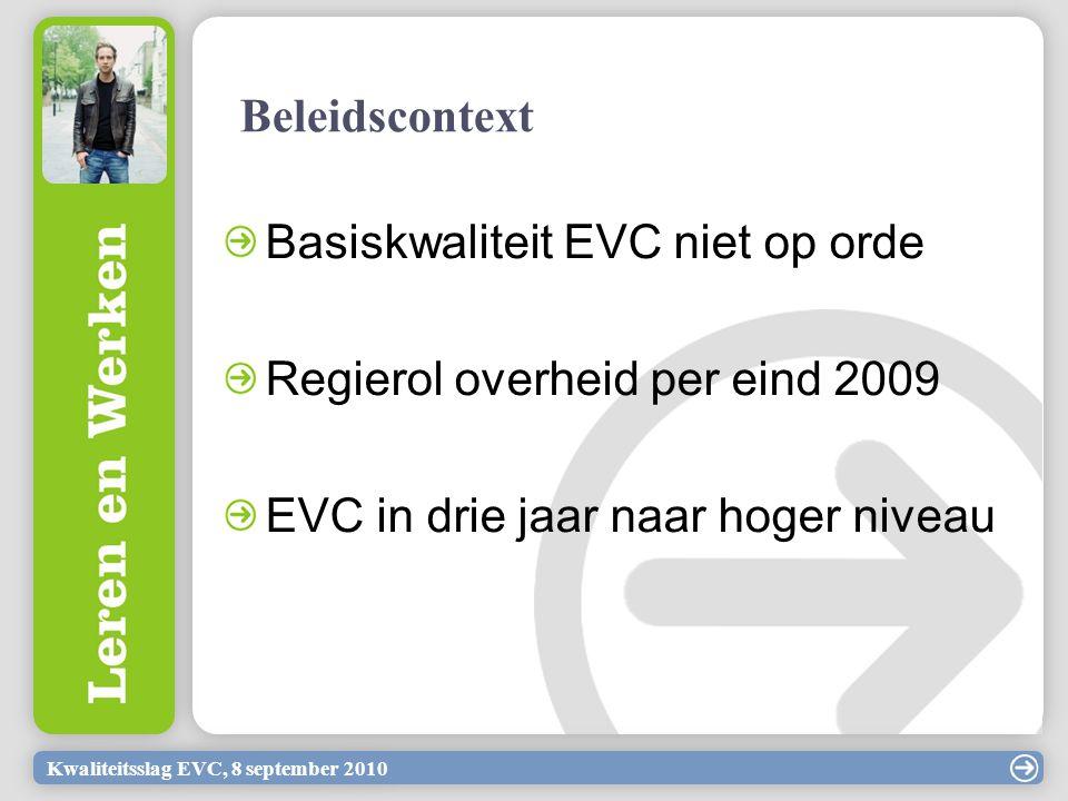 Kwaliteitsslag EVC, 8 september 2010 Basiskwaliteit EVC niet op orde Regierol overheid per eind 2009 EVC in drie jaar naar hoger niveau Beleidscontext