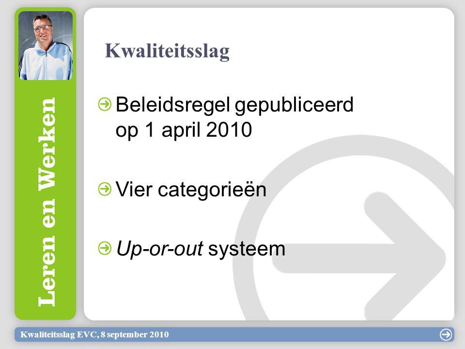 Kwaliteitsslag EVC, 8 september 2010 Kwaliteitsslag Beleidsregel gepubliceerd op 1 april 2010 Vier categorieën Up-or-out systeem
