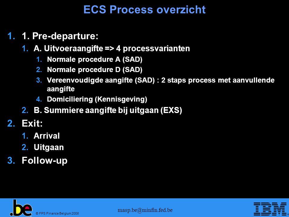 © FPS Finance Belgium 2008 masp.be@minfin.fed.be Pre-departure Validatie 1.A.1 Procedure A 1.A.2 Procedure D 1.A.3 Vereenvoudiging 1.A.4 Domiciliering Controle opdracht Vrijgave Gemeenschappelijk voor alle types