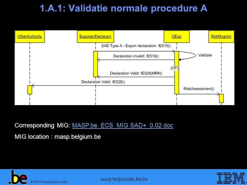 © FPS Finance Belgium 2008 masp.be@minfin.fed.be 1.A.2: Validatie normale procedure D