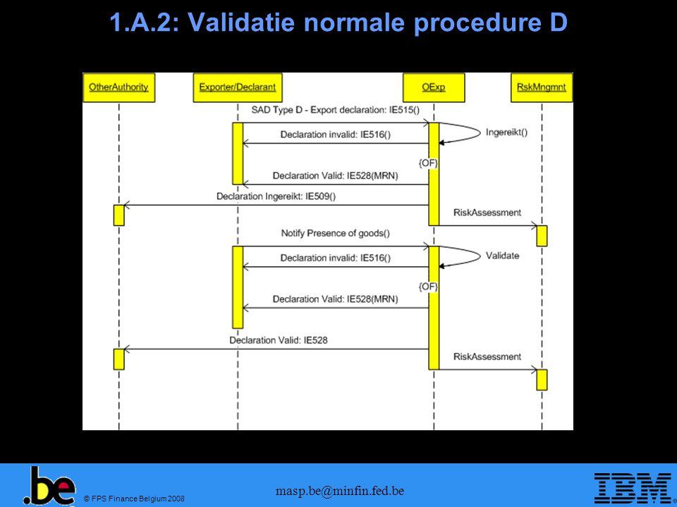 © FPS Finance Belgium 2008 masp.be@minfin.fed.be 1.A.3: Validatie vereenvoudigde aangifte (1)