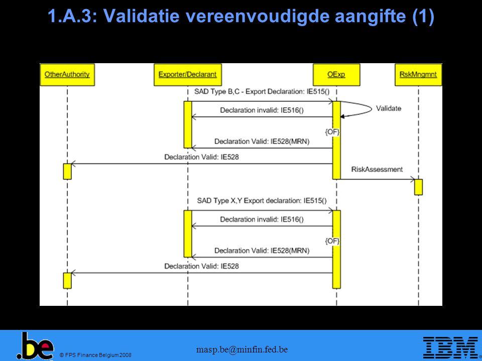© FPS Finance Belgium 2008 masp.be@minfin.fed.be 1.A.3: Validatie vereenvoudigde aangifte (2)