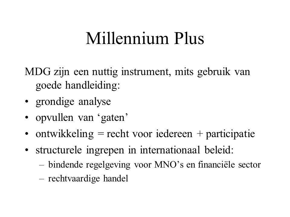 Millennium Plus MDG zijn een nuttig instrument, mits gebruik van goede handleiding: grondige analyse opvullen van 'gaten' ontwikkeling = recht voor ie