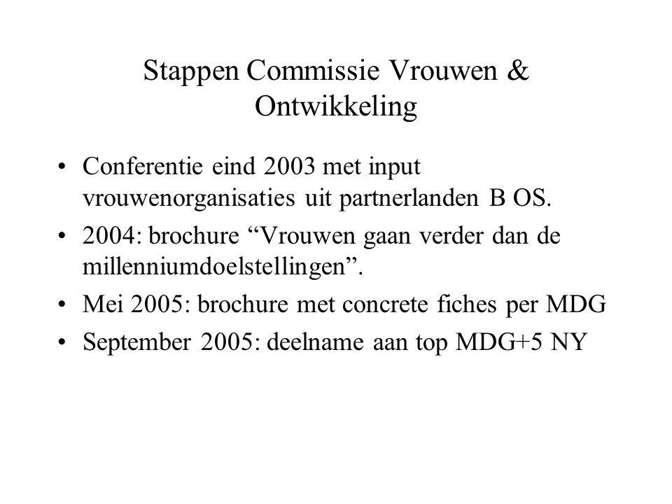 """Stappen Commissie Vrouwen & Ontwikkeling Conferentie eind 2003 met input vrouwenorganisaties uit partnerlanden B OS. 2004: brochure """"Vrouwen gaan verd"""