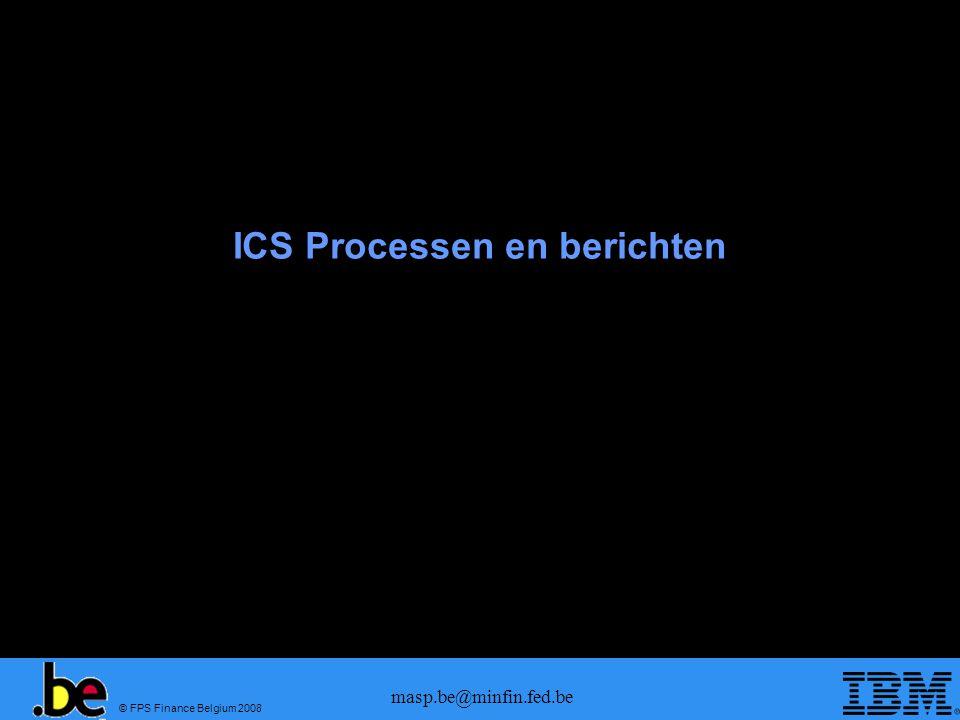 © FPS Finance Belgium 2008 masp.be@minfin.fed.be Pre-arrival berichten Msg IDMessage in MASP IE315 (ENS)XML IE316 (ENS rejection)XML IE328 (ENS validation + MRN)XML IE313 (ENS Amendment)XML IE304 (ENS amendment ok)XML IE305 (ENS amendment nok)XML IE351 (Advanced intervention)FSU TGC IE323 (Diversion request)XML IE324 (Diversion request ok)XML IE325 (Diversion request nok)XML Msg IDMessage in MASP IE315 (ENS)CUSCAR D04A IE316 (ENS rejection)CUSRES D04A IE328 (ENS validation + MRN)CUSRES D04A IE313 (ENS Amendment)CUSCAR D04A IE304 (ENS amendment ok)CUSRES D04A IE305 (ENS amendment nok)CUSRES D04A IE351 (Advanced intervention)CUSRES D04A IE323 (Diversion request)CUSREP D04A IE324 (Diversion request ok)CUSRES D04A IE325 (Diversion request nok)CUSRES D04A Zeevracht Luchtvracht