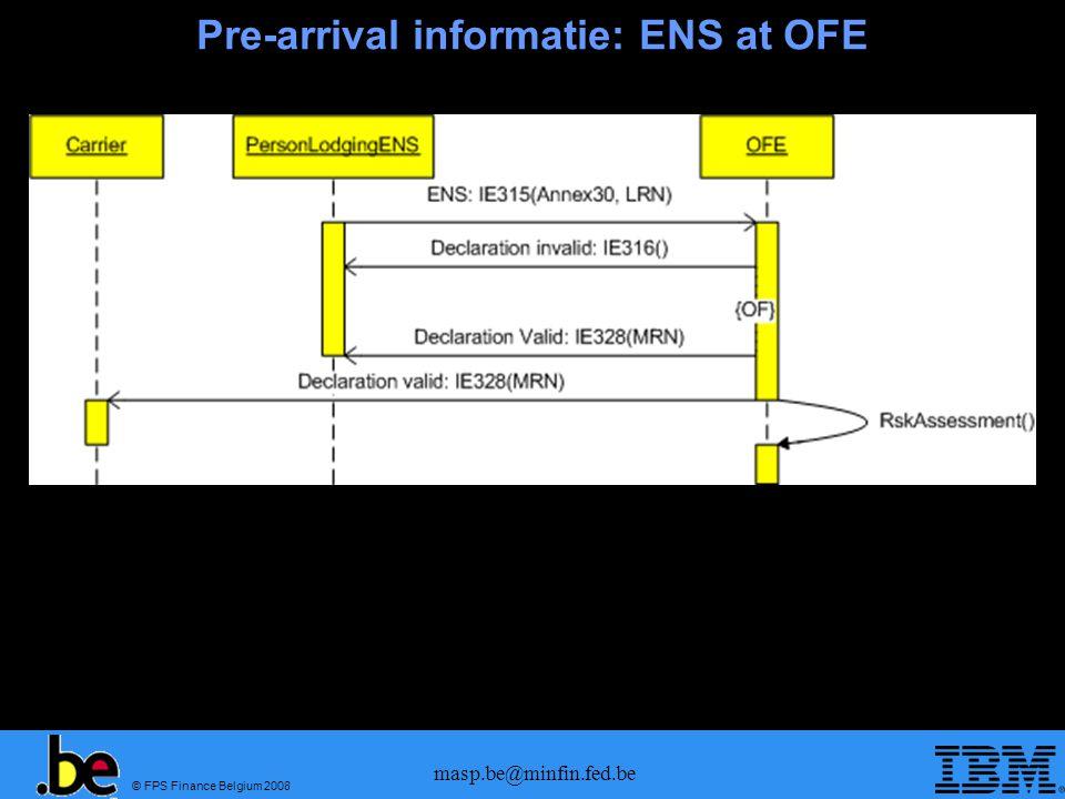 © FPS Finance Belgium 2008 masp.be@minfin.fed.be Pre-arrival informatie: ENS at OOL