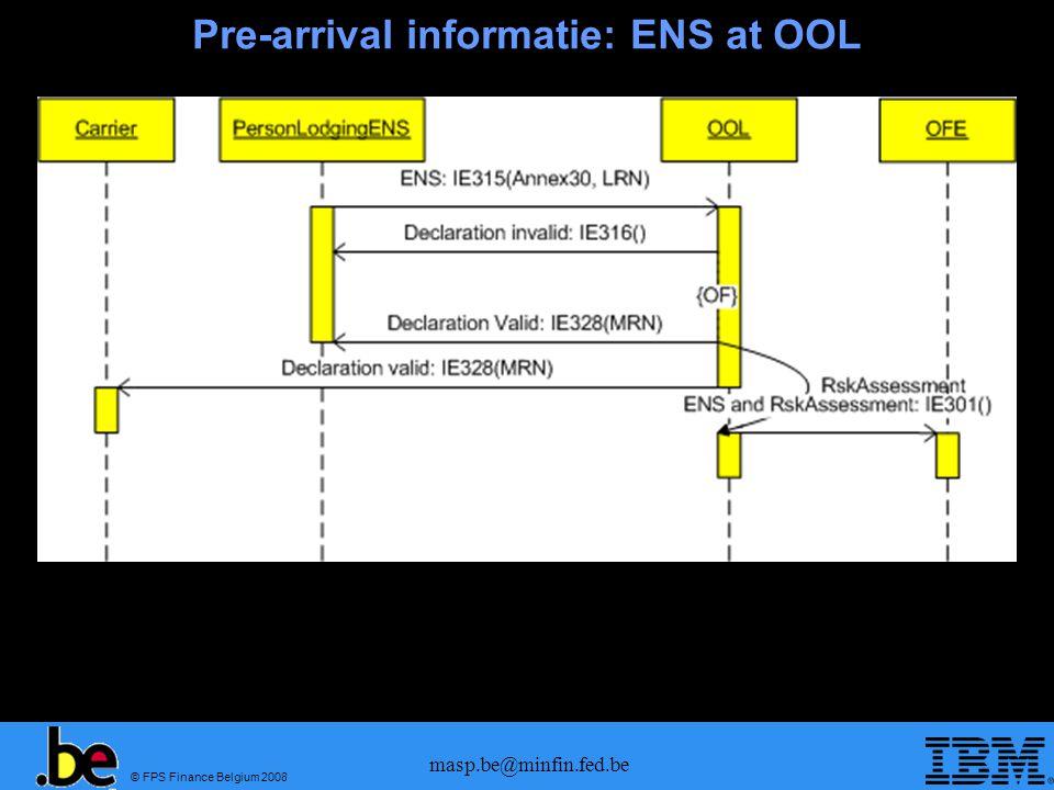 © FPS Finance Belgium 2008 masp.be@minfin.fed.be Pre-arrival informatie: Douaneaangifte OOL