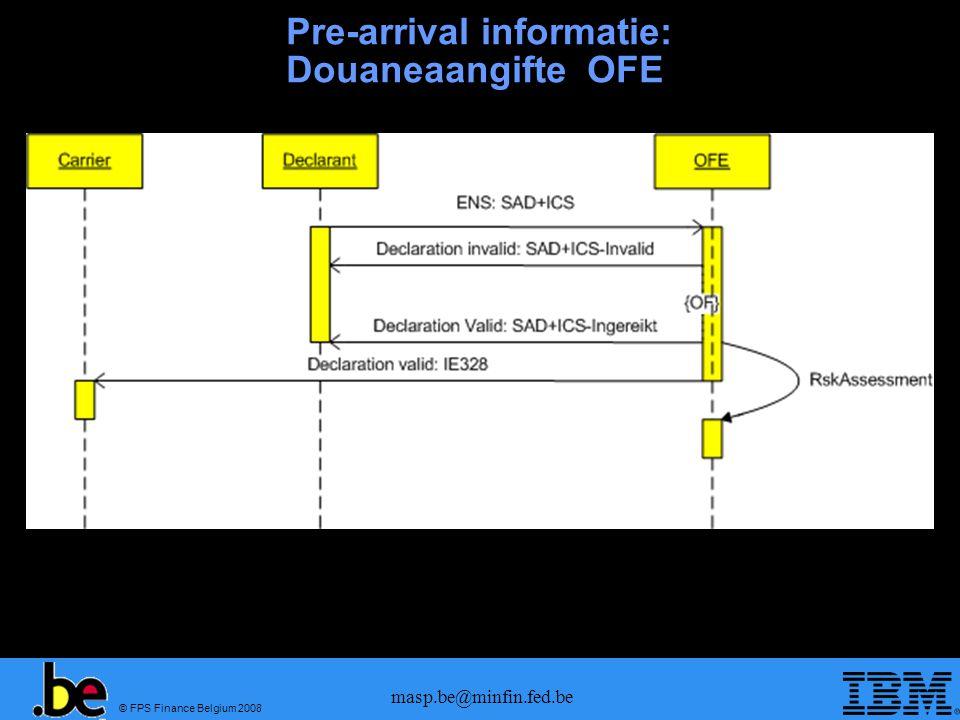 © FPS Finance Belgium 2008 masp.be@minfin.fed.be Pre-arrival informatie: wijziging ENS