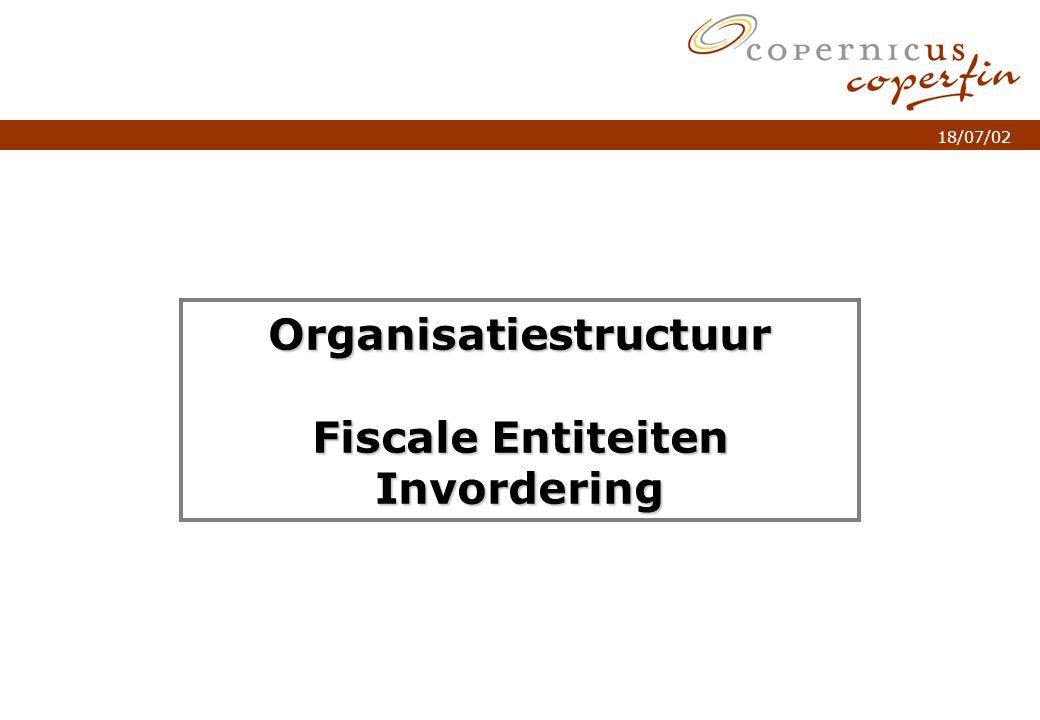 p. 1Titel van de presentatie 18/07/02 Organisatiestructuur Fiscale Entiteiten Invordering