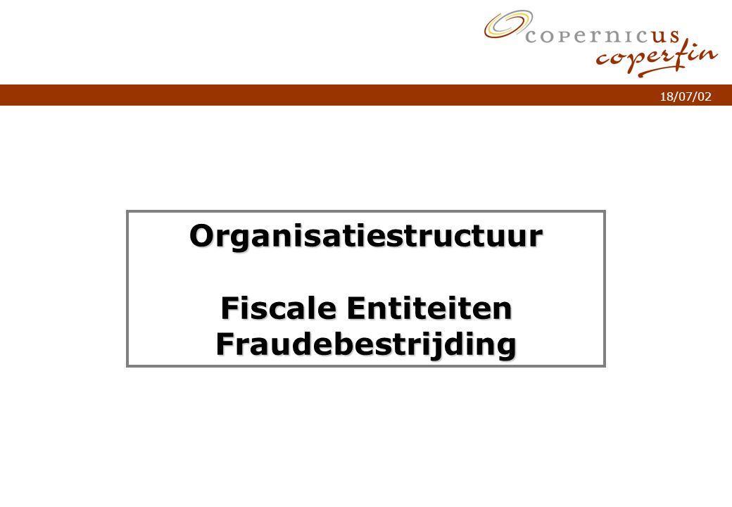 p. 1Titel van de presentatie 18/07/02 Organisatiestructuur Fiscale Entiteiten Fraudebestrijding