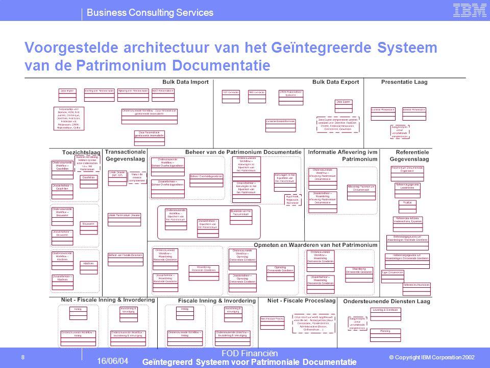 Business Consulting Services © Copyright IBM Corporation 2002 FOD Financiën Geïntegreerd Systeem voor Patrimoniale Documentatie 16/06/04 8 Voorgestelde architectuur van het Geïntegreerde Systeem van de Patrimonium Documentatie
