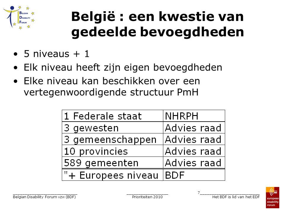 __________________ Prioriteiten 2010 7__________________________ Het BDF is lid van het EDF ____________________________ Belgian Disability Forum vzw