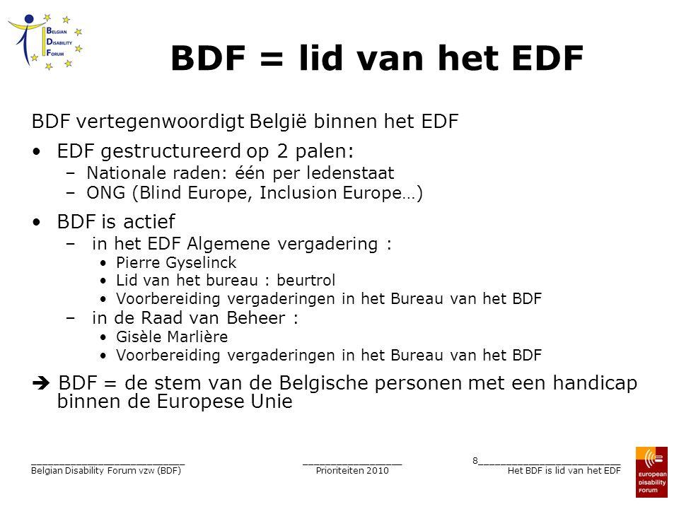__________________ Prioriteiten 2010 8__________________________ Het BDF is lid van het EDF ____________________________ Belgian Disability Forum vzw