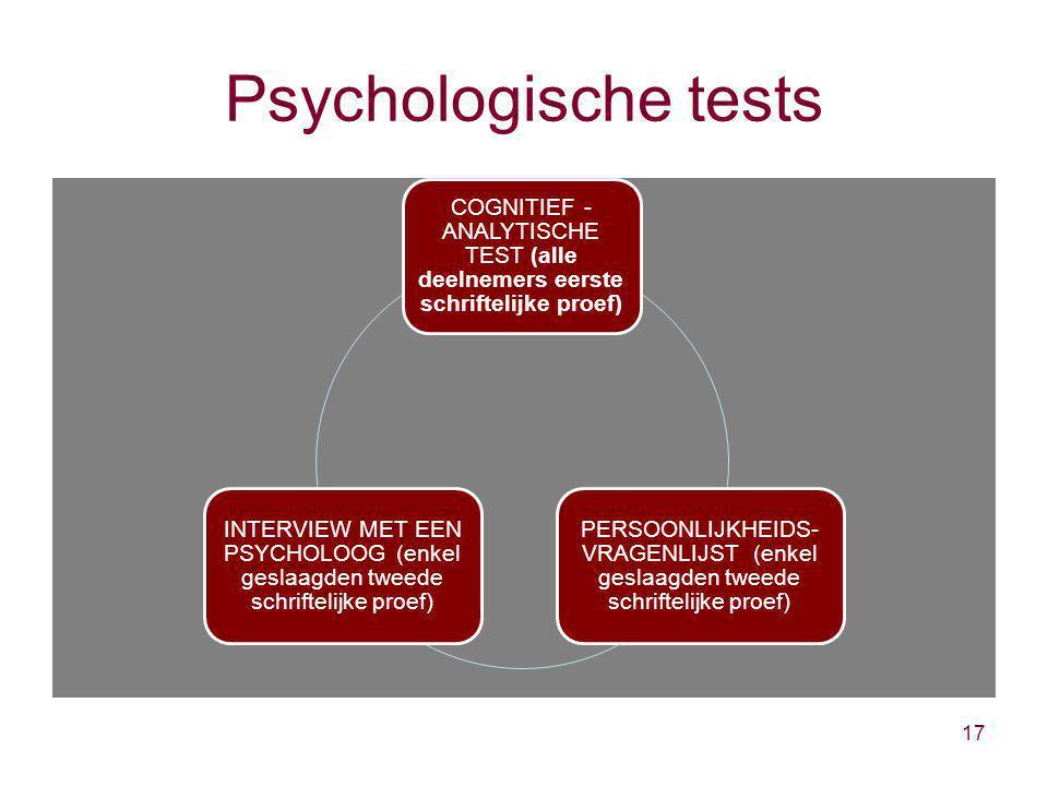 Psychologische tests 17 COGNITIEF - ANALYTISCHE TEST (alle deelnemers eerste schriftelijke proef) PERSOONLIJKHEIDS- VRAGENLIJST (enkel geslaagden twee