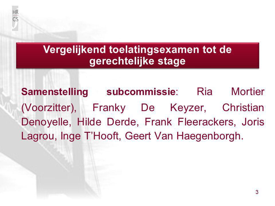 3 Samenstelling subcommissie: Ria Mortier (Voorzitter), Franky De Keyzer, Christian Denoyelle, Hilde Derde, Frank Fleerackers, Joris Lagrou, Inge T'Ho