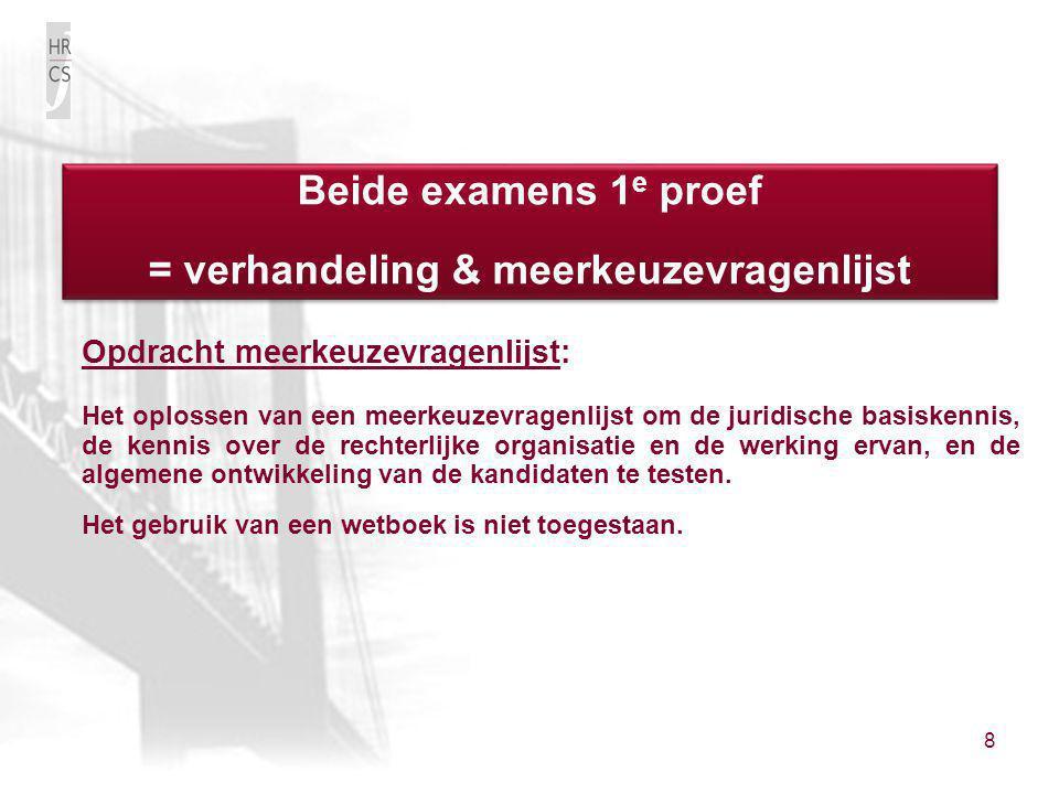 8 Opdracht meerkeuzevragenlijst: Het oplossen van een meerkeuzevragenlijst om de juridische basiskennis, de kennis over de rechterlijke organisatie en