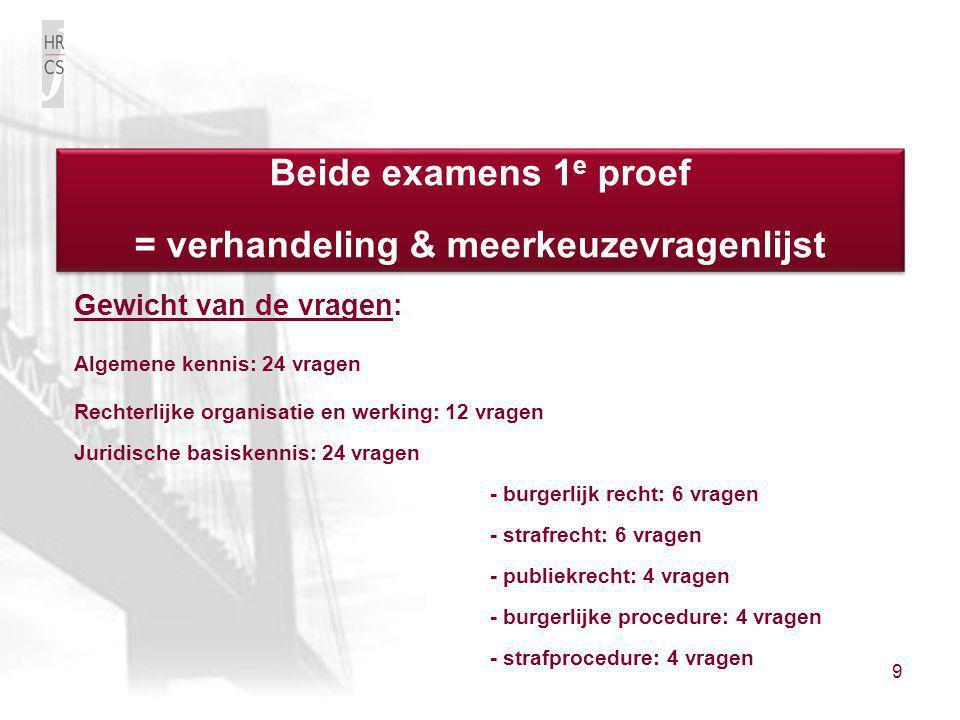 9 Gewicht van de vragen: Algemene kennis: 24 vragen Rechterlijke organisatie en werking: 12 vragen Juridische basiskennis: 24 vragen - burgerlijk rech