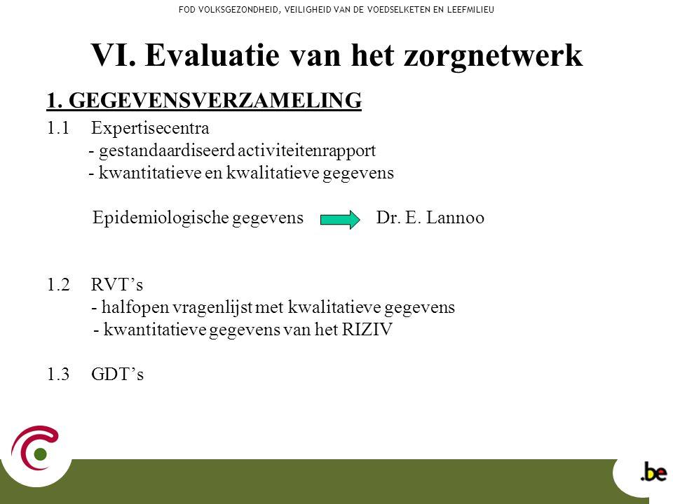 VI. Evaluatie van het zorgnetwerk 1. GEGEVENSVERZAMELING 1.1 Expertisecentra - gestandaardiseerd activiteitenrapport - kwantitatieve en kwalitatieve g