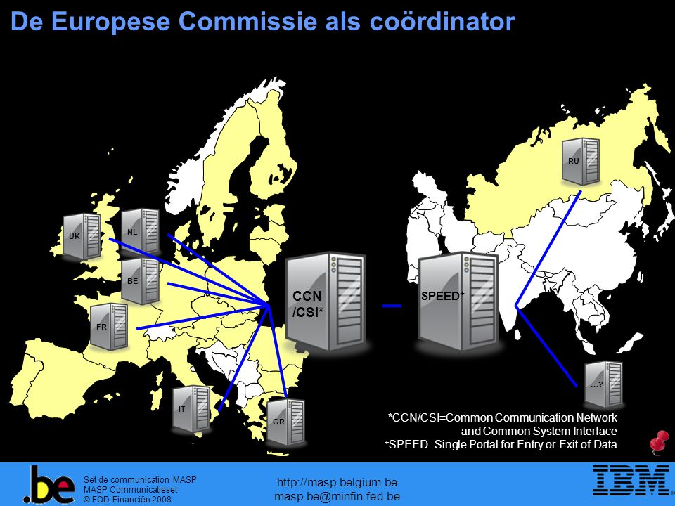 Set de communication MASP MASP Communicatieset © FOD Financiën 2008 http://masp.belgium.be masp.be@minfin.fed.be De Europese Commissie als coördinator BE CCN /CSI* NLUKFR GR IT SPEED + RU ….