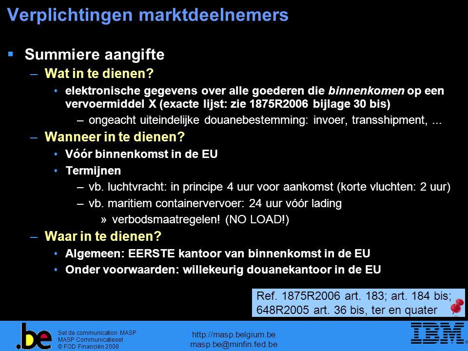 Set de communication MASP MASP Communicatieset © FOD Financiën 2008 http://masp.belgium.be masp.be@minfin.fed.be Verplichtingen marktdeelnemers  Summiere aangifte –Wat in te dienen.