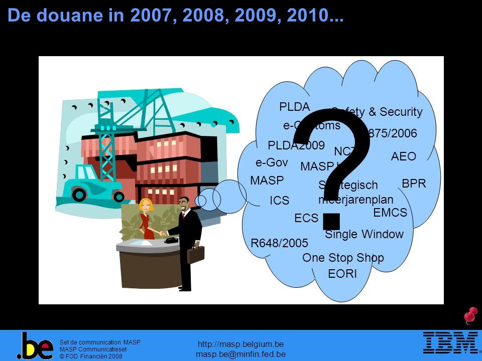 Set de communication MASP MASP Communicatieset © FOD Financiën 2008 http://masp.belgium.be masp.be@minfin.fed.be De douane in 2007, 2008, 2009, 2010..