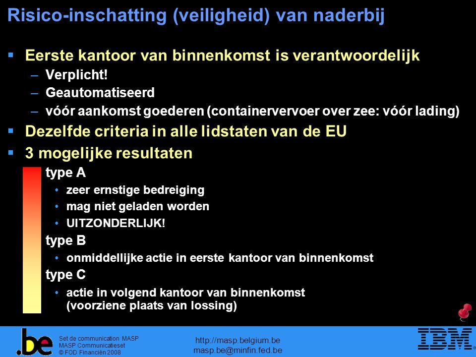 Set de communication MASP MASP Communicatieset © FOD Financiën 2008 http://masp.belgium.be masp.be@minfin.fed.be Risico-inschatting (veiligheid) van naderbij  Eerste kantoor van binnenkomst is verantwoordelijk –Verplicht.