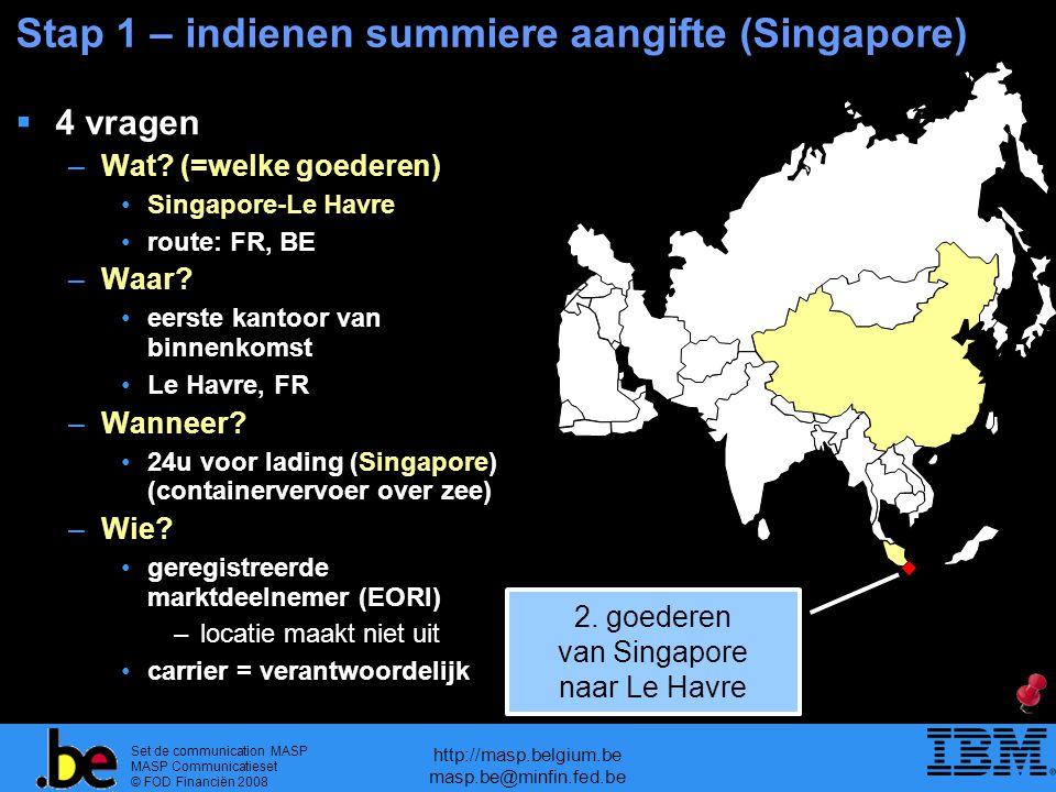 Set de communication MASP MASP Communicatieset © FOD Financiën 2008 http://masp.belgium.be masp.be@minfin.fed.be Stap 1 – indienen summiere aangifte (Singapore)  4 vragen –Wat.
