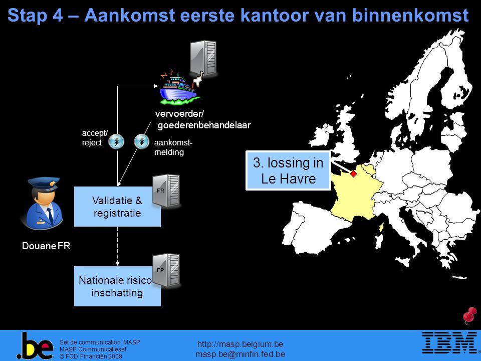 Set de communication MASP MASP Communicatieset © FOD Financiën 2008 http://masp.belgium.be masp.be@minfin.fed.be Stap 4 – Aankomst eerste kantoor van binnenkomst Validatie & registratie FR Douane FR aankomst- melding 3.