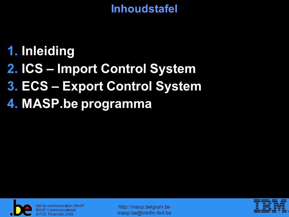 Set de communication MASP MASP Communicatieset © FOD Financiën 2008 http://masp.belgium.be masp.be@minfin.fed.be Inhoudstafel 1.Inleiding 2.ICS – Import Control System 3.ECS – Export Control System 4.MASP.be programma