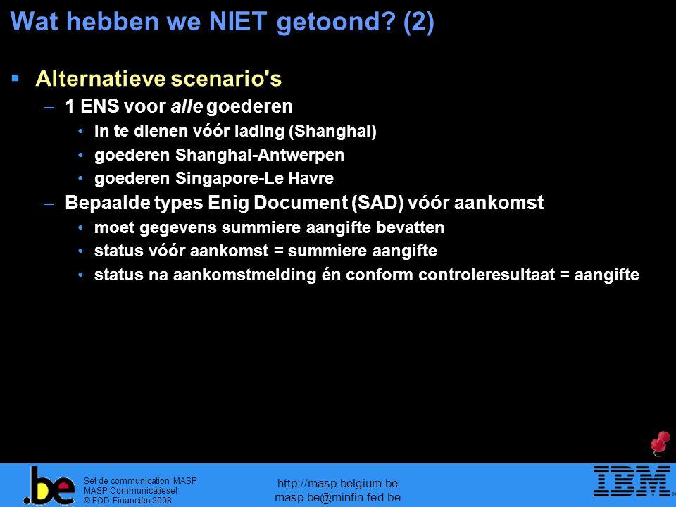 Set de communication MASP MASP Communicatieset © FOD Financiën 2008 http://masp.belgium.be masp.be@minfin.fed.be Wat hebben we NIET getoond? (2)  Al