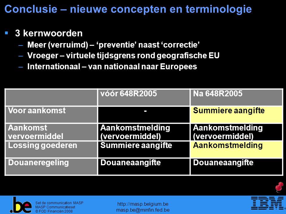 Set de communication MASP MASP Communicatieset © FOD Financiën 2008 http://masp.belgium.be masp.be@minfin.fed.be Conclusie – nieuwe concepten en termi