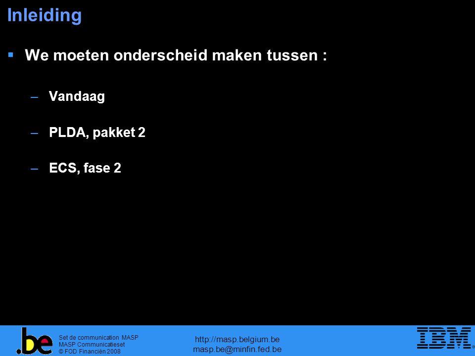 Set de communication MASP MASP Communicatieset © FOD Financiën 2008 http://masp.belgium.be masp.be@minfin.fed.be Inleiding  We moeten onderscheid maken tussen : – Vandaag – PLDA, pakket 2 – ECS, fase 2
