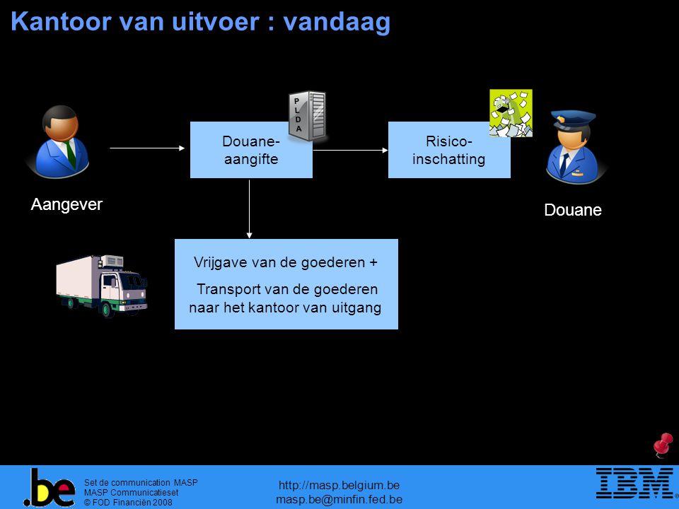 Set de communication MASP MASP Communicatieset © FOD Financiën 2008 http://masp.belgium.be masp.be@minfin.fed.be Douane- aangifte Risico- inschatting Kantoor van uitvoer : vandaag Aangever Douane Vrijgave van de goederen + Transport van de goederen naar het kantoor van uitgang PLDAPLDA