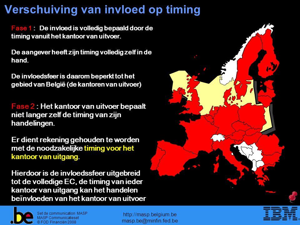 Set de communication MASP MASP Communicatieset © FOD Financiën 2008 http://masp.belgium.be masp.be@minfin.fed.be Verschuiving van invloed op timing Fase 1 : De invloed is volledig bepaald door de timing vanuit het kantoor van uitvoer.