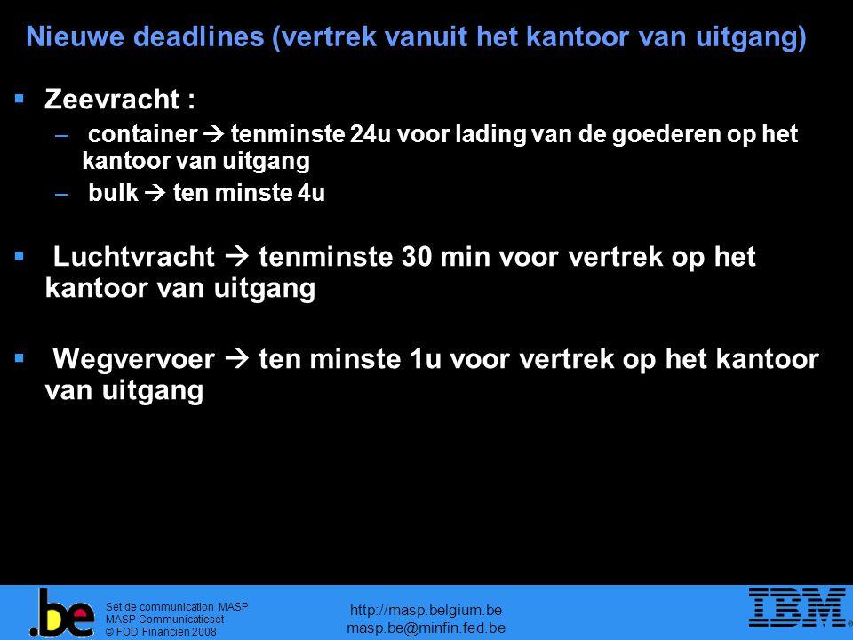 Set de communication MASP MASP Communicatieset © FOD Financiën 2008 http://masp.belgium.be masp.be@minfin.fed.be Nieuwe deadlines (vertrek vanuit het