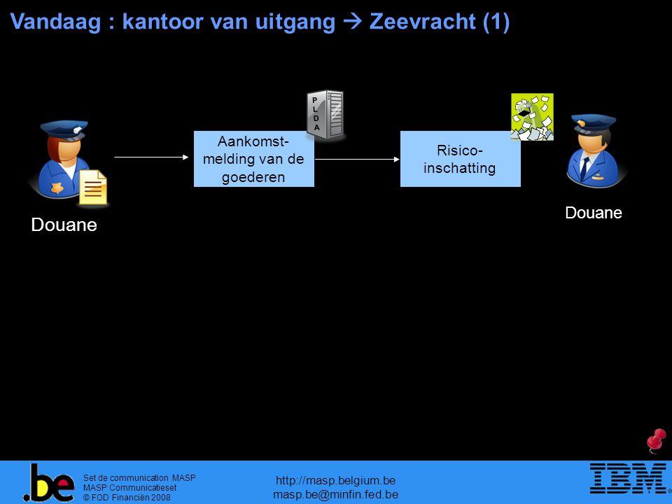 Set de communication MASP MASP Communicatieset © FOD Financiën 2008 http://masp.belgium.be masp.be@minfin.fed.be Vandaag : kantoor van uitgang  Zeevracht (1) Douane Risico- inschatting Douane Aankomst- melding van de goederen PLDAPLDA