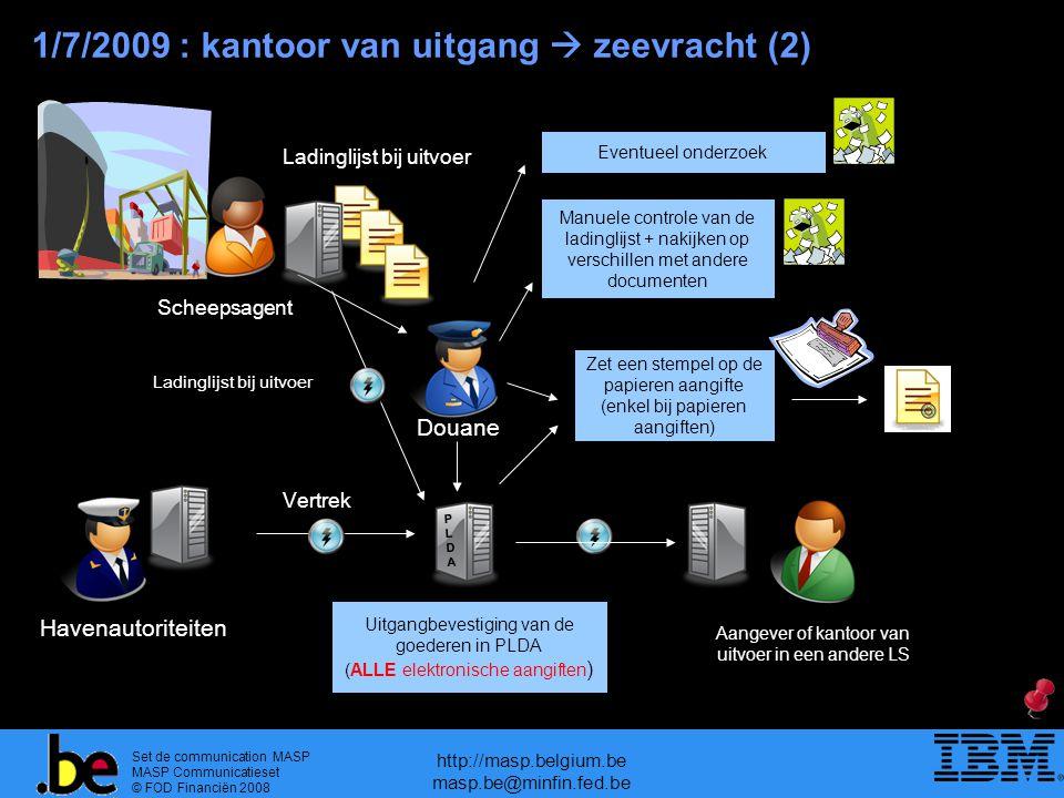 Set de communication MASP MASP Communicatieset © FOD Financiën 2008 http://masp.belgium.be masp.be@minfin.fed.be Uitgangsbevestiging van de goederen in PLDA (enkel bij elektronische aangiften ) Uitgangbevestiging van de goederen in PLDA (ALLE elektronische aangiften ) 1/7/2009 : kantoor van uitgang  zeevracht (2) Douane Scheepsagent Ladinglijst bij uitvoer Havenautoriteiten PLDAPLDA Vertrek Aangever of kantoor van uitvoer in een andere LS Eventueel onderzoek Manuele controle van de ladinglijst + nakijken op verschillen met andere documenten Zet een stempel op de papieren aangifte (enkel bij papieren aangiften) Ladinglijst bij uitvoer