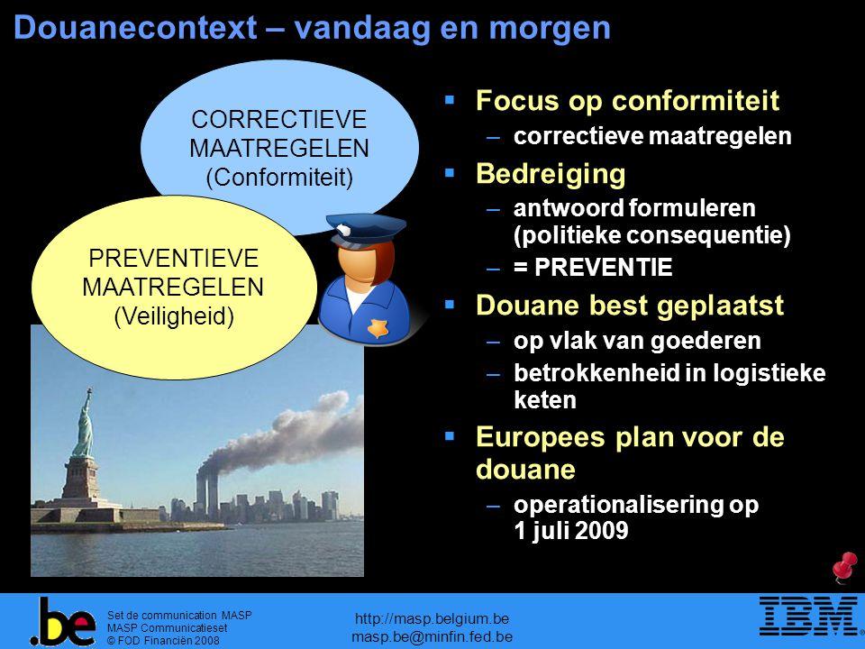 Set de communication MASP MASP Communicatieset © FOD Financiën 2008 http://masp.belgium.be masp.be@minfin.fed.be Douanecontext – vandaag en morgen COR