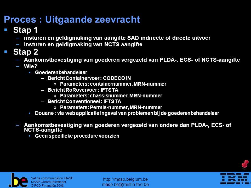 Set de communication MASP MASP Communicatieset © FOD Financiën 2008 http://masp.belgium.be masp.be@minfin.fed.be Proces : Uitgaande zeevracht  Stap 1 –insturen en geldigmaking van aangifte SAD indirecte of directe uitvoer –Insturen en geldigmaking van NCTS aangifte  Stap 2 –Aankomstbevestiging van goederen vergezeld van PLDA-, ECS- of NCTS-aangifte –Wie.