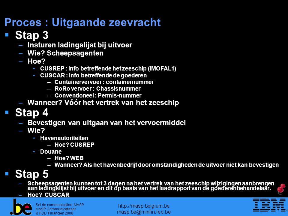 Set de communication MASP MASP Communicatieset © FOD Financiën 2008 http://masp.belgium.be masp.be@minfin.fed.be Proces : Uitgaande zeevracht  Stap 3 –Insturen ladingslijst bij uitvoer –Wie.