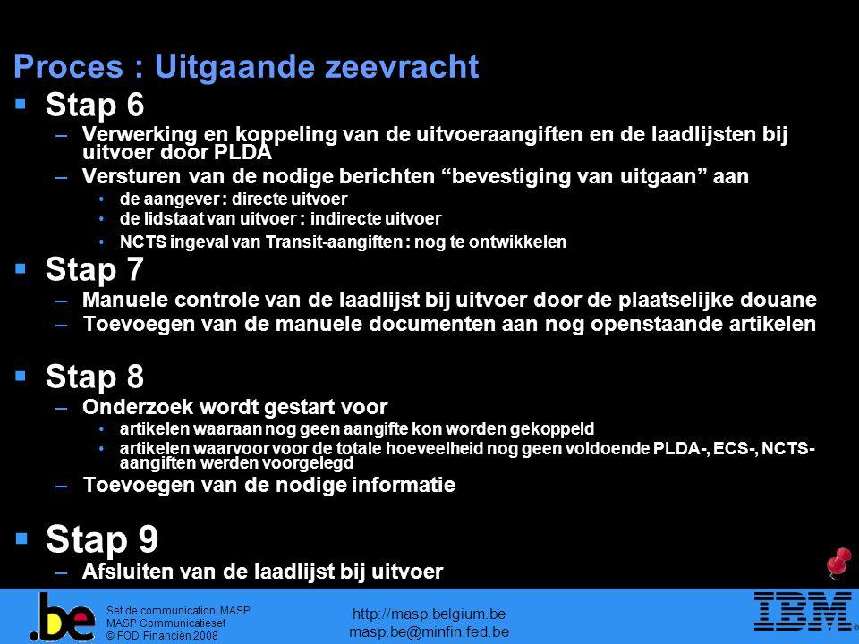 Set de communication MASP MASP Communicatieset © FOD Financiën 2008 http://masp.belgium.be masp.be@minfin.fed.be Proces : Uitgaande zeevracht  Stap 6