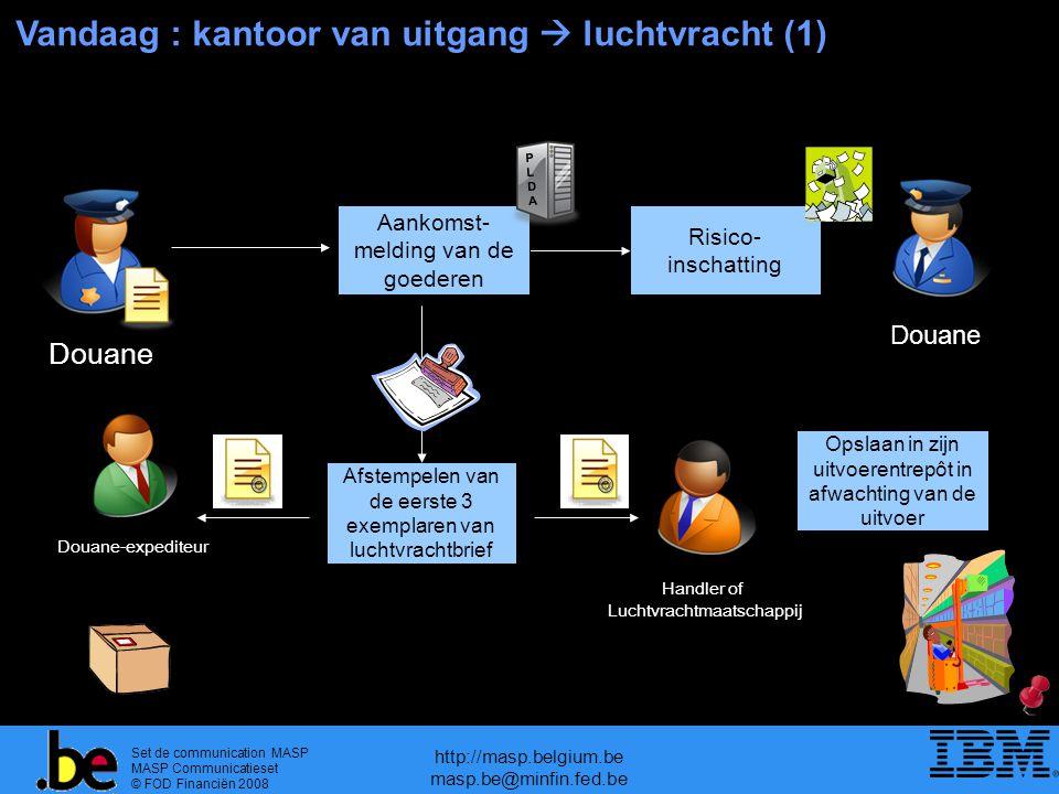 Set de communication MASP MASP Communicatieset © FOD Financiën 2008 http://masp.belgium.be masp.be@minfin.fed.be Vandaag : kantoor van uitgang  luchtvracht (1) Douane Risico- inschatting Douane Aankomst- melding van de goederen PLDAPLDA Afstempelen van de eerste 3 exemplaren van luchtvrachtbrief Handler of Luchtvrachtmaatschappij Opslaan in zijn uitvoerentrepôt in afwachting van de uitvoer Douane-expediteur