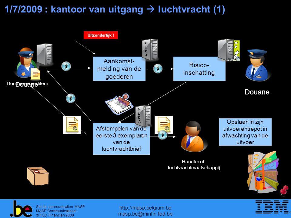 Set de communication MASP MASP Communicatieset © FOD Financiën 2008 http://masp.belgium.be masp.be@minfin.fed.be Elektronisch bericht gestuurd door PLDA Afstempelen van de eerste 3 exemplaren van de luchtvrachtbrief Douane-expediteur 1/7/2009 : kantoor van uitgang  luchtvracht (1) Risico- inschatting Douane Aankomst- melding van de goederen PLDAPLDA Douane Handler of luchtvrachtmaatschappij Opslaan in zijn uitvoerentrepot in afwachting van de uitvoer Uitzonderlijk .