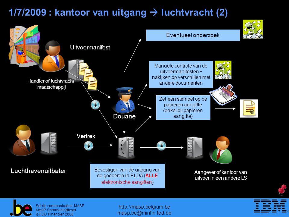 Set de communication MASP MASP Communicatieset © FOD Financiën 2008 http://masp.belgium.be masp.be@minfin.fed.be Uitgangsbevestiging van de goederen in PLDA (enkel voor elektronische aangiften ) Bevestigen van de uitgang van de goederen in PLDA (ALLE elektronische aangiften ) 1/7/2009 : kantoor van uitgang  luchtvracht (2) Douane Luchthavenuitbater PLDAPLDA Vertrek Aangever of kantoor van uitvoer in een andere LS Eventueel onderzoek Manuele controle van de uitvoermanifesten + nakijken op verschillen met andere documenten Zet een stempel op de papieren aangifte (enkel bij papieren aangifte) Handler of luchtvracht- maatschappij Uitvoermanifest
