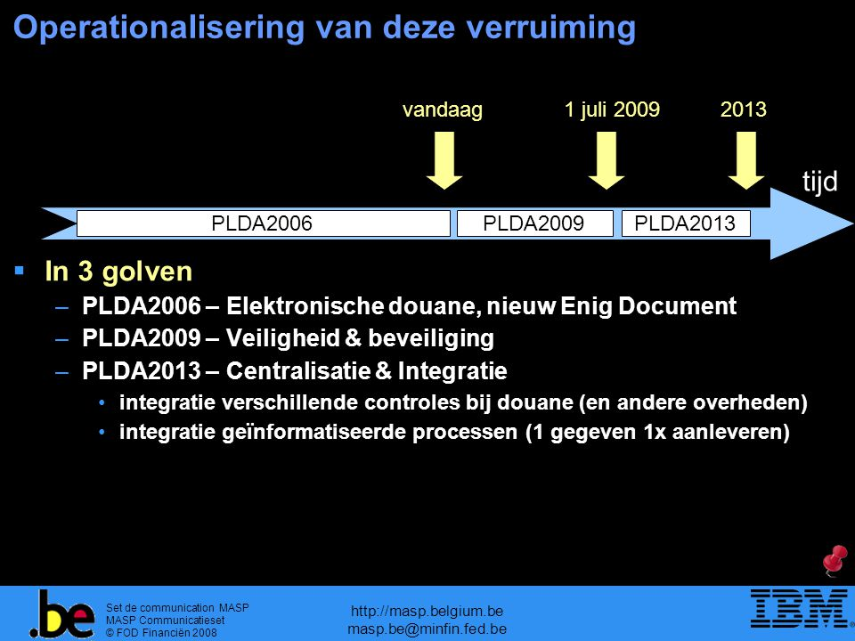 Set de communication MASP MASP Communicatieset © FOD Financiën 2008 http://masp.belgium.be masp.be@minfin.fed.be Operationalisering van deze verruiming tijd vandaag1 juli 20092013  In 3 golven –PLDA2006 – Elektronische douane, nieuw Enig Document –PLDA2009 – Veiligheid & beveiliging –PLDA2013 – Centralisatie & Integratie integratie verschillende controles bij douane (en andere overheden) integratie geïnformatiseerde processen (1 gegeven 1x aanleveren) PLDA2006PLDA2009 PLDA2013