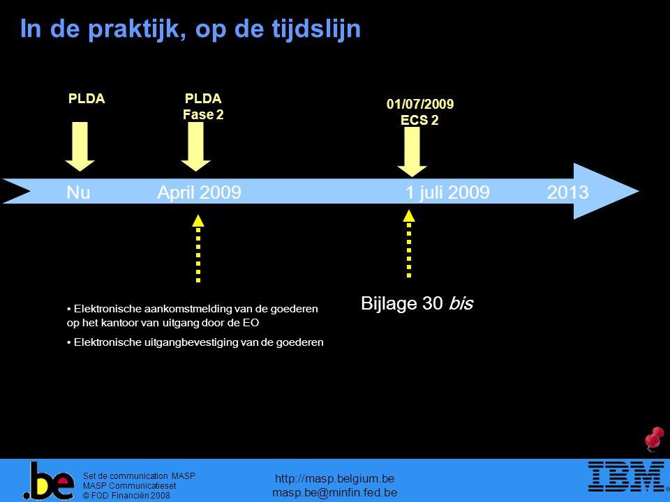 Set de communication MASP MASP Communicatieset © FOD Financiën 2008 http://masp.belgium.be masp.be@minfin.fed.be NuApril 20091 juli 2009 PLDA Fase 2 Bijlage 30 bis 01/07/2009 ECS 2 Elektronische aankomstmelding van de goederen op het kantoor van uitgang door de EO Elektronische uitgangbevestiging van de goederen 2013 PLDA In de praktijk, op de tijdslijn