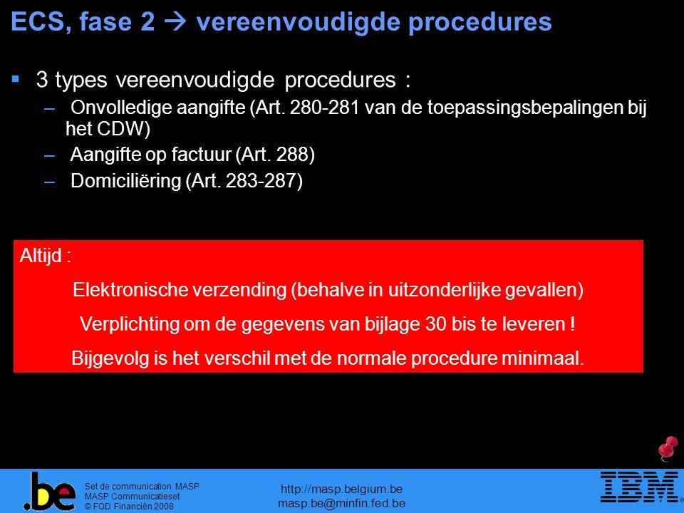 Set de communication MASP MASP Communicatieset © FOD Financiën 2008 http://masp.belgium.be masp.be@minfin.fed.be ECS, fase 2  vereenvoudigde procedur